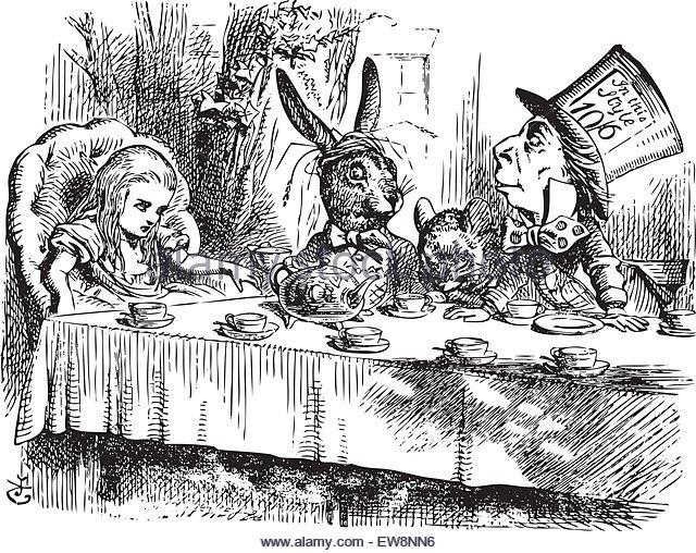 mad-hatters-tea-party-alice-in-wonderland-original-vintage-engraving-ew8nn6