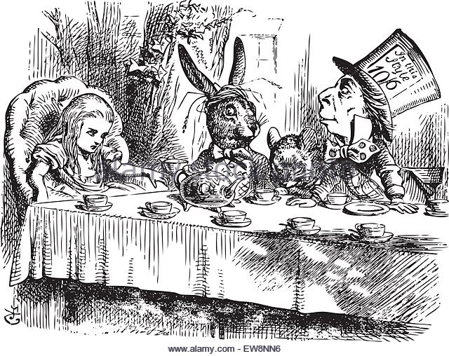 mad-hatters-tea-party-alice-in-wonderland-original-vintage-engraving-ew8nn6